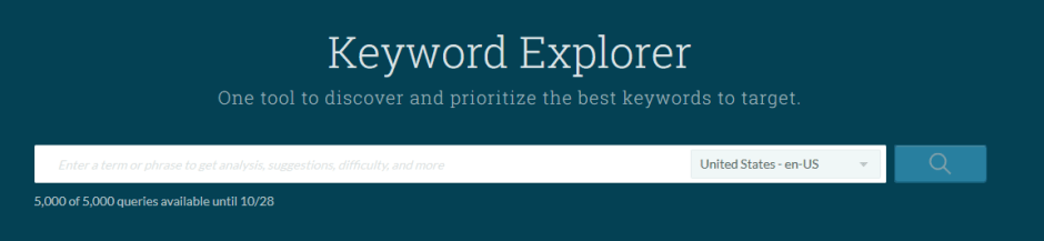 Moz Keyword Explorer Suggestion Field