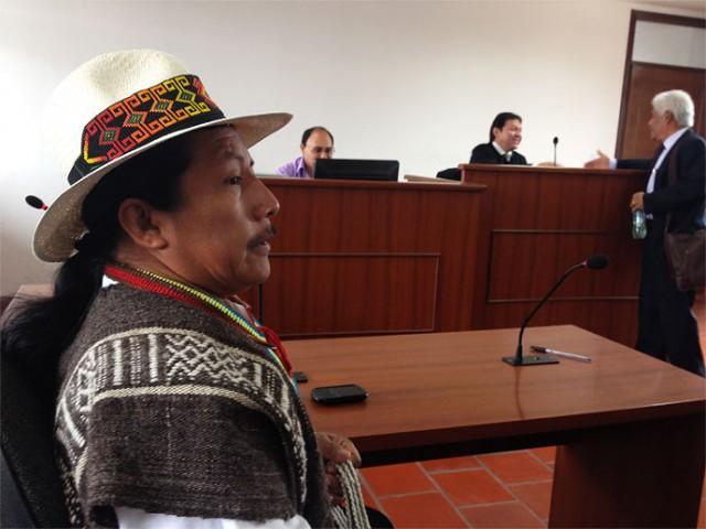 Feliciano Valenca, líder indígena, durante un juicio en su contra en la ciudad de Popayán. Foto: Colprensa