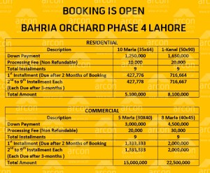 Bahria Orchard booking Lahore