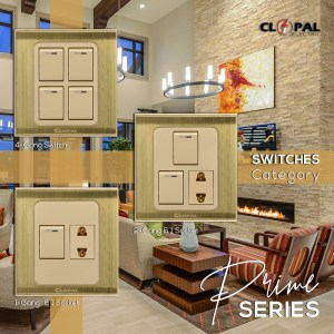 2 switch 1 socket prime series clopal