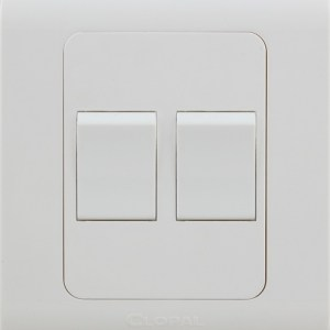 2 gang white switches button clopal type r