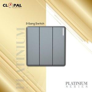 3 gang switch sheet platinium frameless clopal