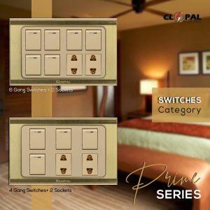 6 switch 2 socket prime series clopal
