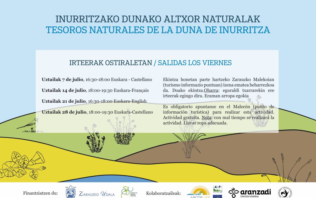 Guided excursions to the SCA Inurritza  on July. Activity supported by the Zarautz Council and guidance provided by the Sociedad de Ciencias Aranzadi