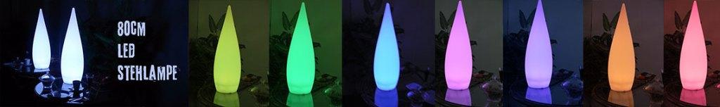 80cm LED Stehlampe, Tropfen-Form mit Farbwechsel