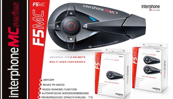 Interphone F5 MC Singel und Twin, Bluetooth Freisprecheirnrichtung für Motorrad