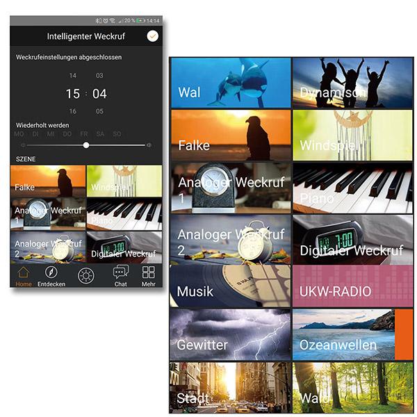 Divoom Timebox,  verschiedene Weckruf-Musik-Szenarien