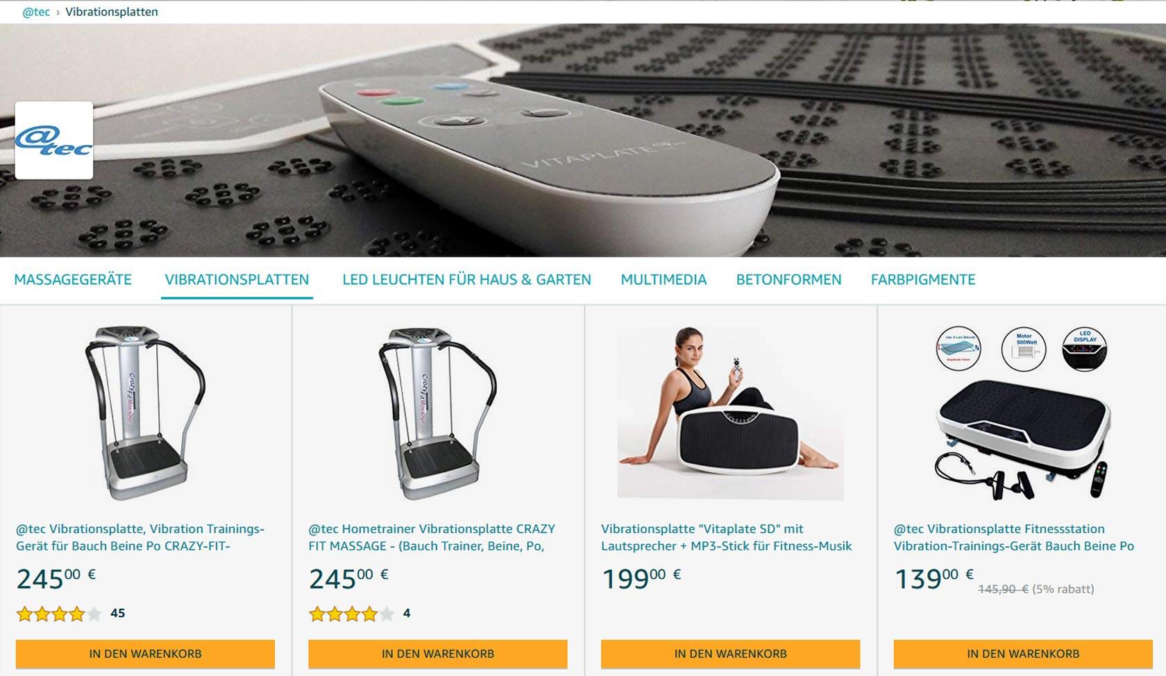 @tec Markenwelt auf Amazon, Vibrationsplatten