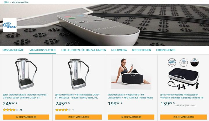 @tec Markenwelt auf Amazon, Vibrationsplatten