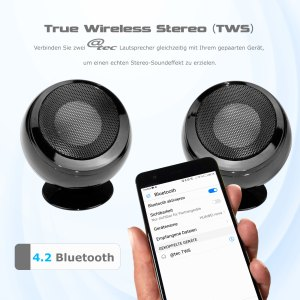 @tec TWS Bluetooth Stereo Lautsprecher, True Wireless Speaker Set von arcotec