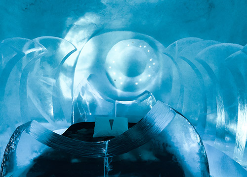 Bed at ice hotel