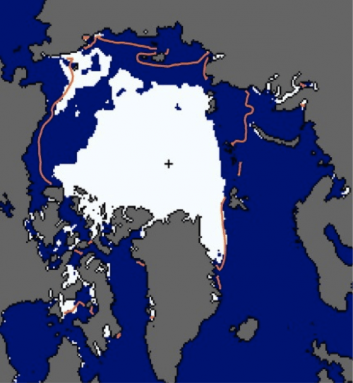 Microwave sea ice chart for 9 August 2012 from NSIDC
