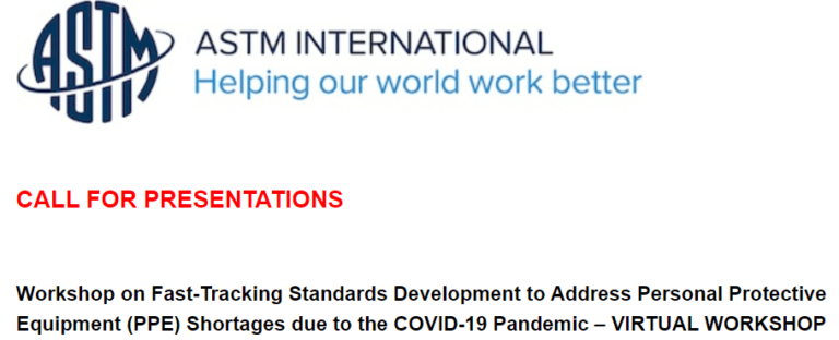Read more about the article ASTM Workshop on COVID-19 Standards Announced, Seeks Proposals.