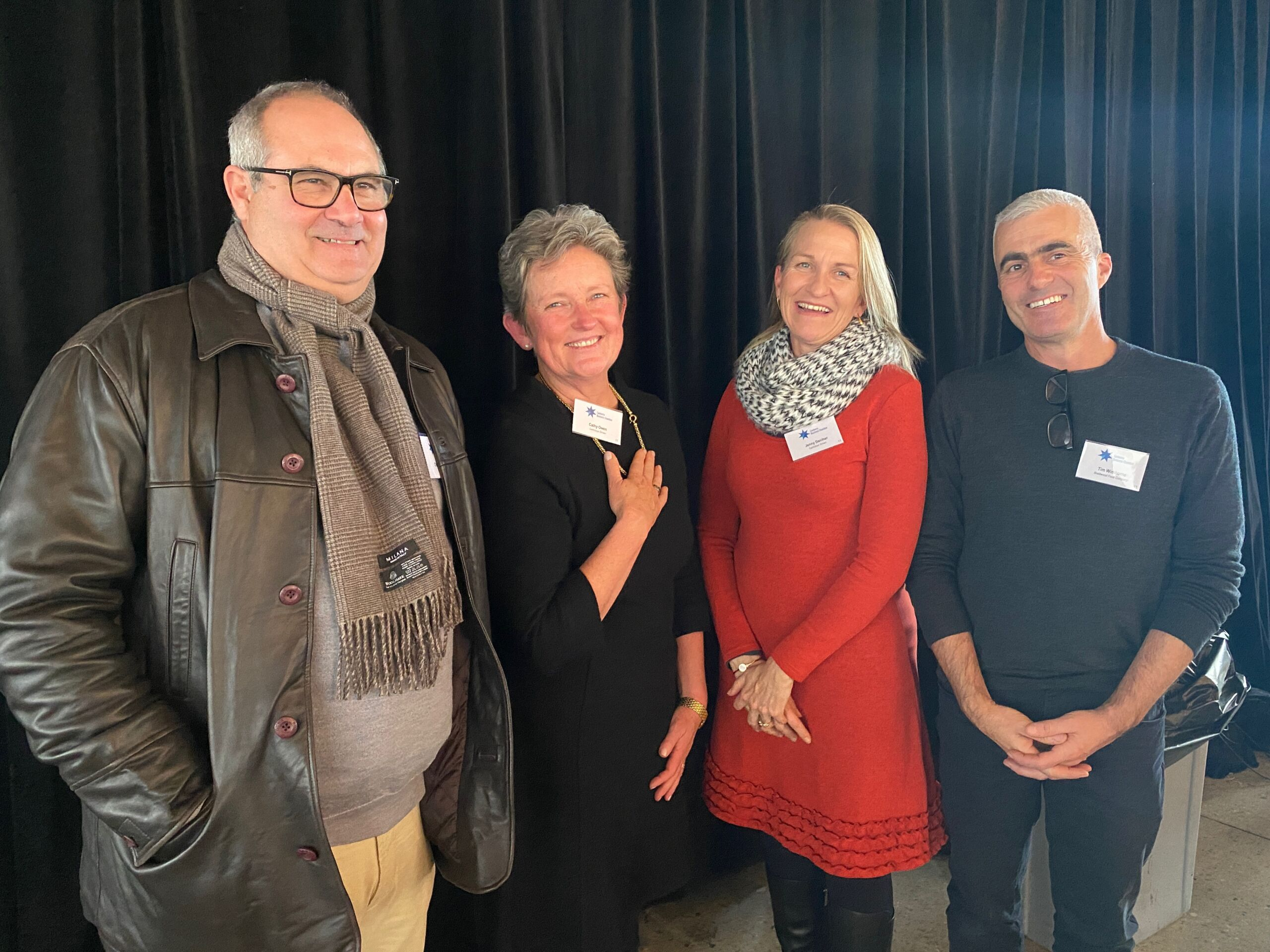 L-R Charlie La Barre de Nanteuil of La Barre Olives, Cathy Owen and Jenny Daniher of Garlicious Grown and Tim Wimborne of Braidwood Food Company