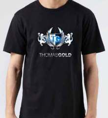 Thomas Gold Logo T-Shirt Crew Neck Short Sleeve Men Women Tee DJ Merchandise Ardamus.com