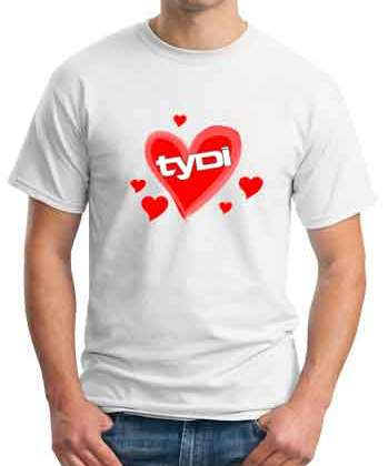 Tydi Heart T-Shirt Crew Neck Short Sleeve Men Women Tee DJ Merchandise Ardamus.com