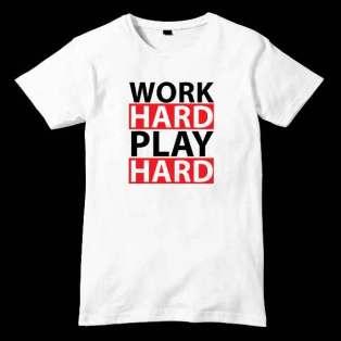 Work Hard Play Hard T-Shirt Men Women Tee by Ardamus.com Merchandise