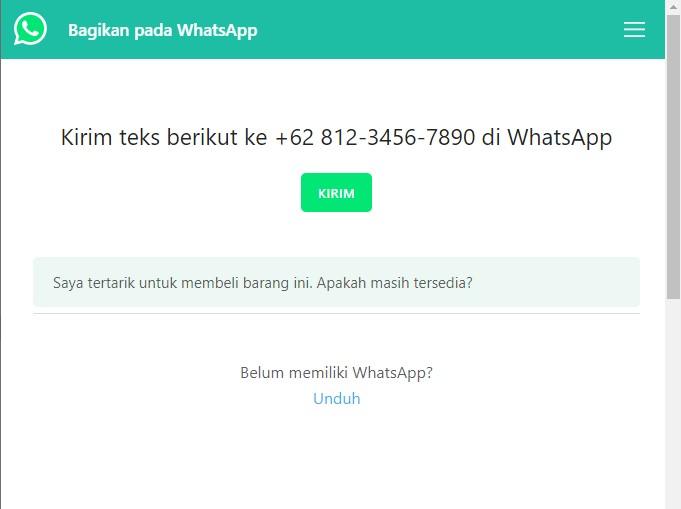 link chat whatsaap menggunakan text