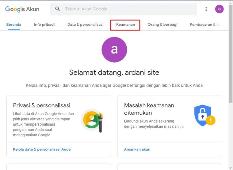 menu keamanan google