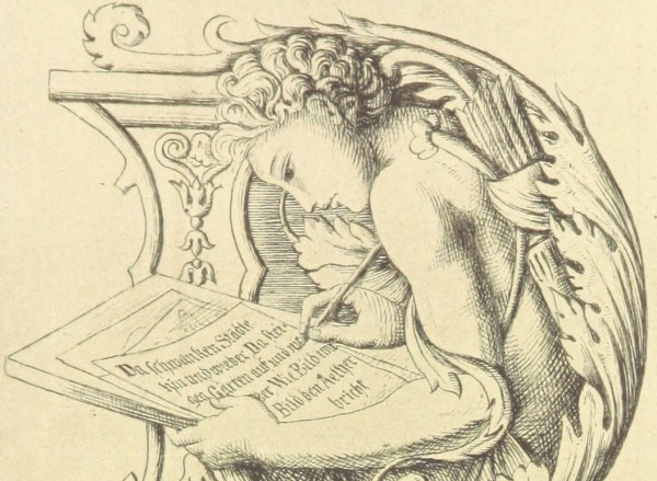 Illustration showing someone learning to write headlines, or at least writing something.