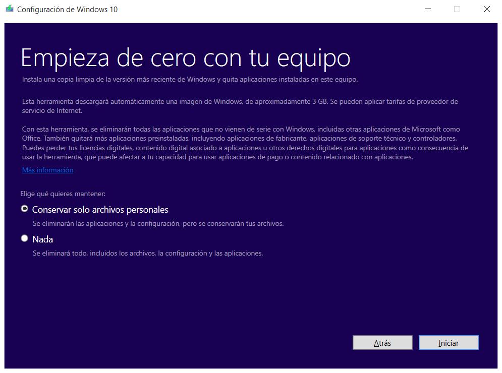 Fresh Start Windows 10