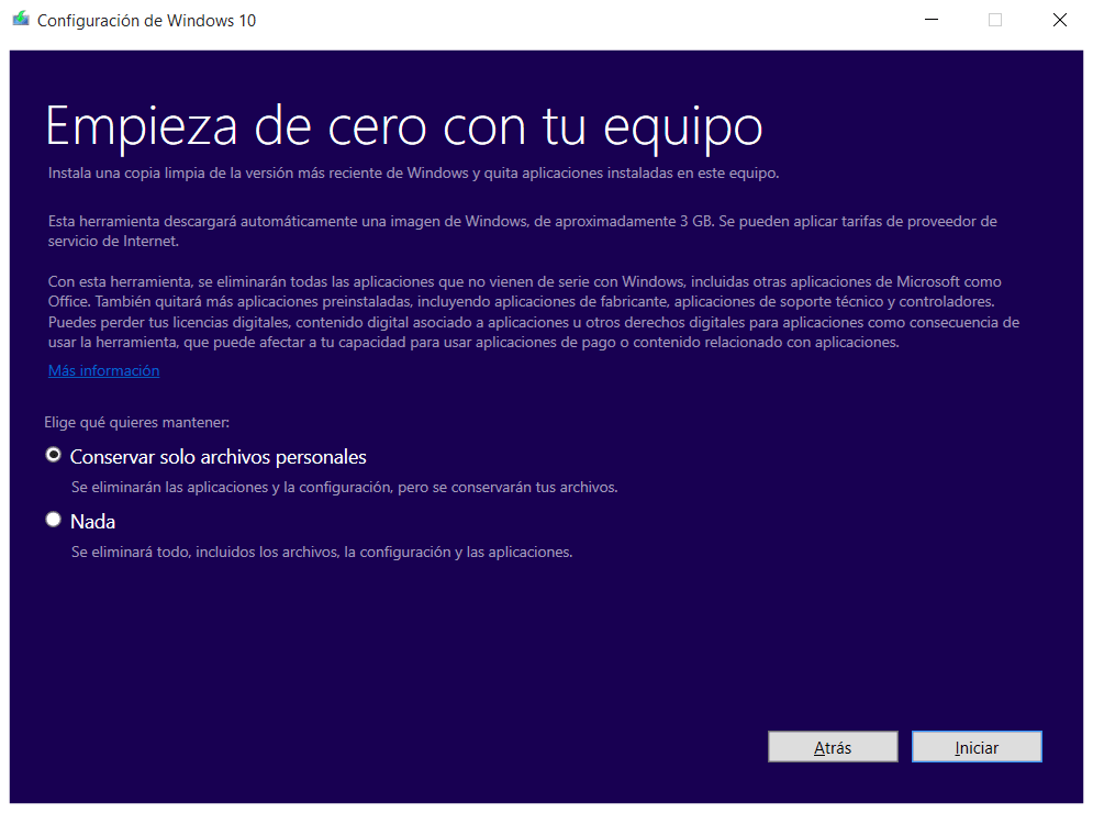 Fresh Start Windows 10