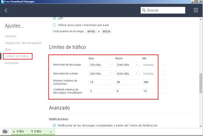 Limite de tráfico Download Manager