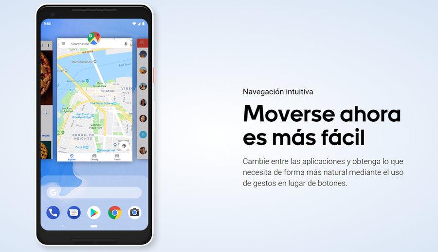 Navegación por Gestos de Android Pie