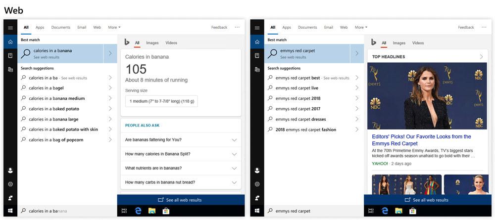 búsqueda avanzada Windows 10 Redstone 5