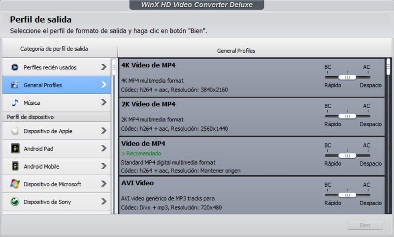 Formato de salida video 4K