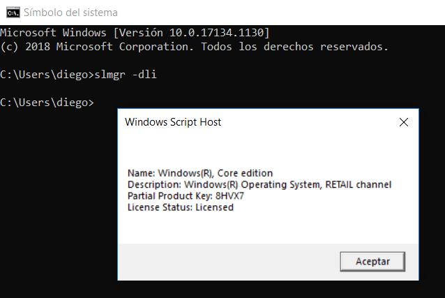 Verificar clave de Windows 10 OEM o Retail