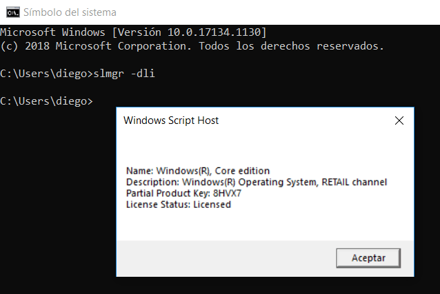 Verificar clave de Windows 10 OEM o Retail