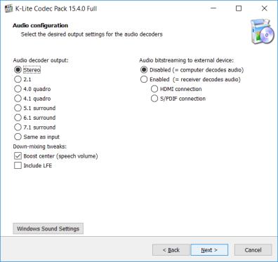 Configuración de audio K-Lite