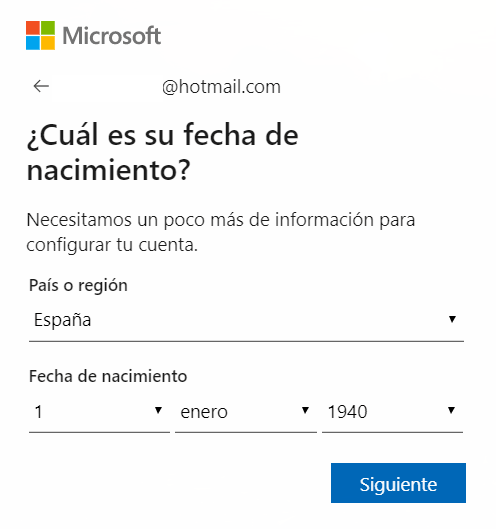 Fecha de nacimiento Microsoft