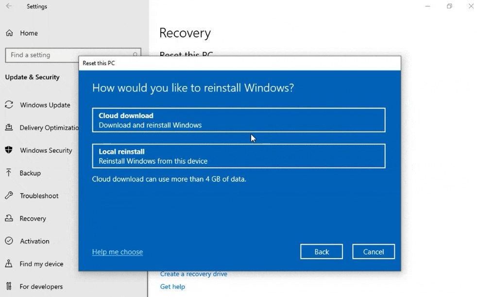 Reinstalar Windows 10 desde la nube