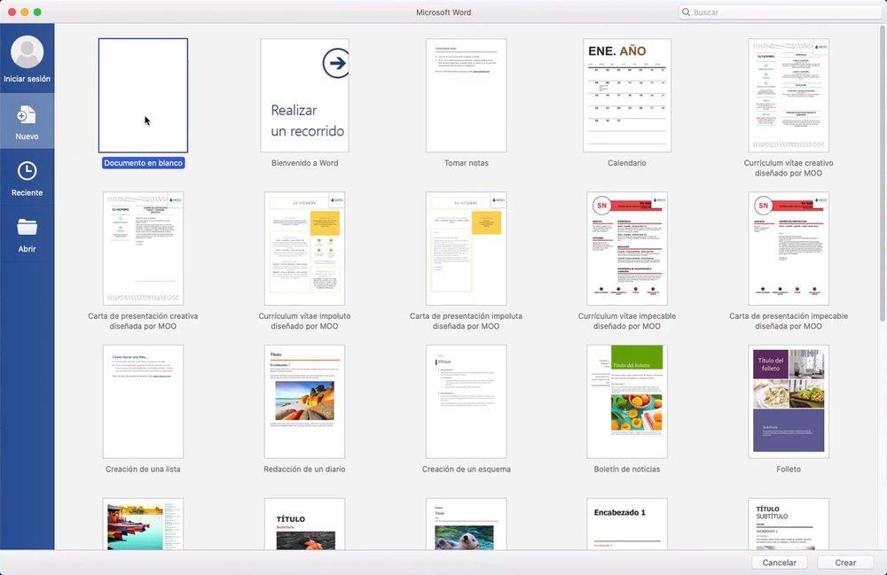 Pantalla de inicio de Word 2019 para Mac