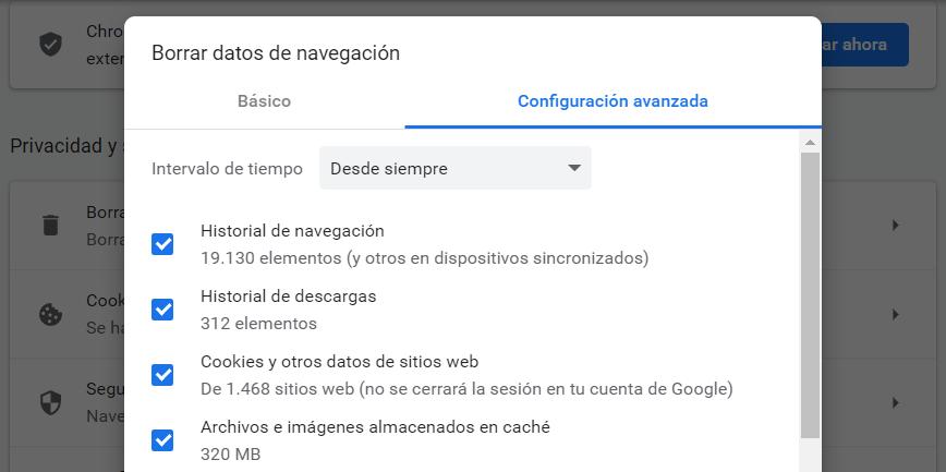 eliminar caché del navegador