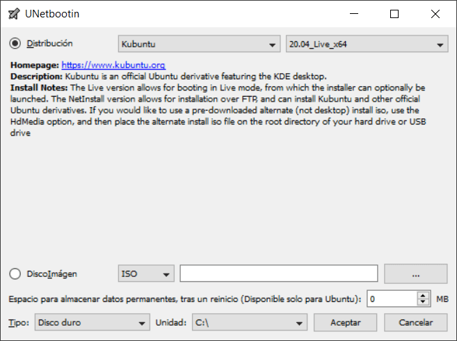 UNetbootin para Windows