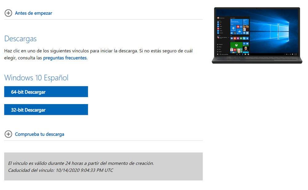 Descargar Windows 10 sin herramienta de creación de medios