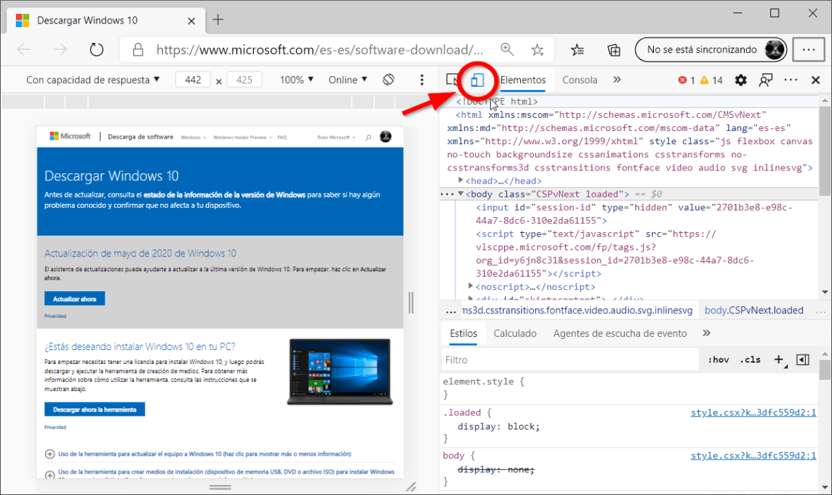 Emular dispositivo del navegador