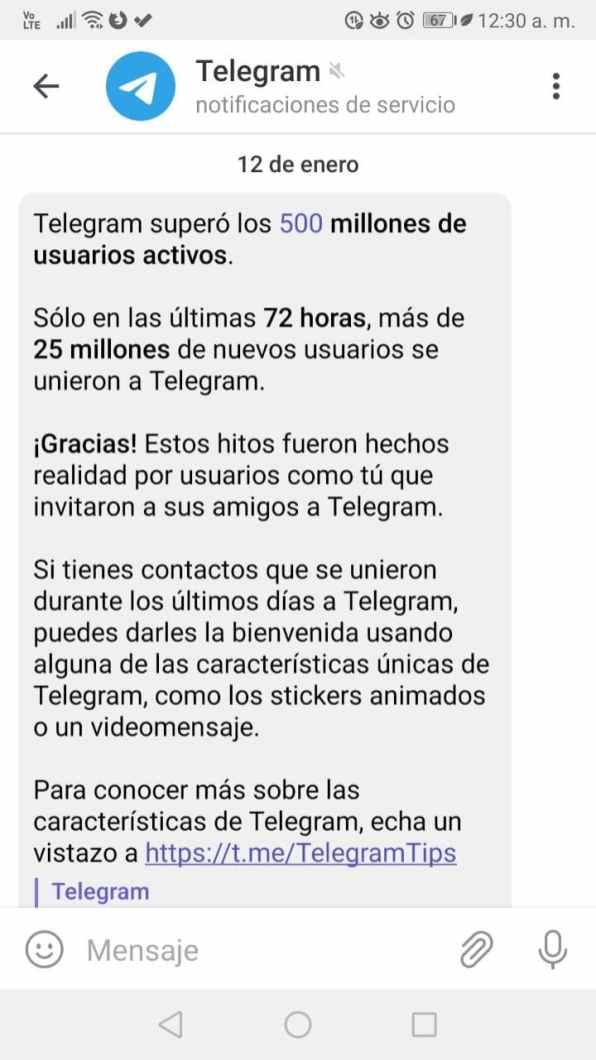 Telegram app mensajería Android