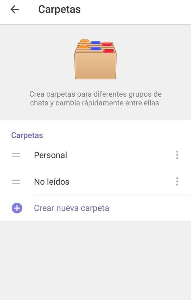 Crear carpetas Telegram