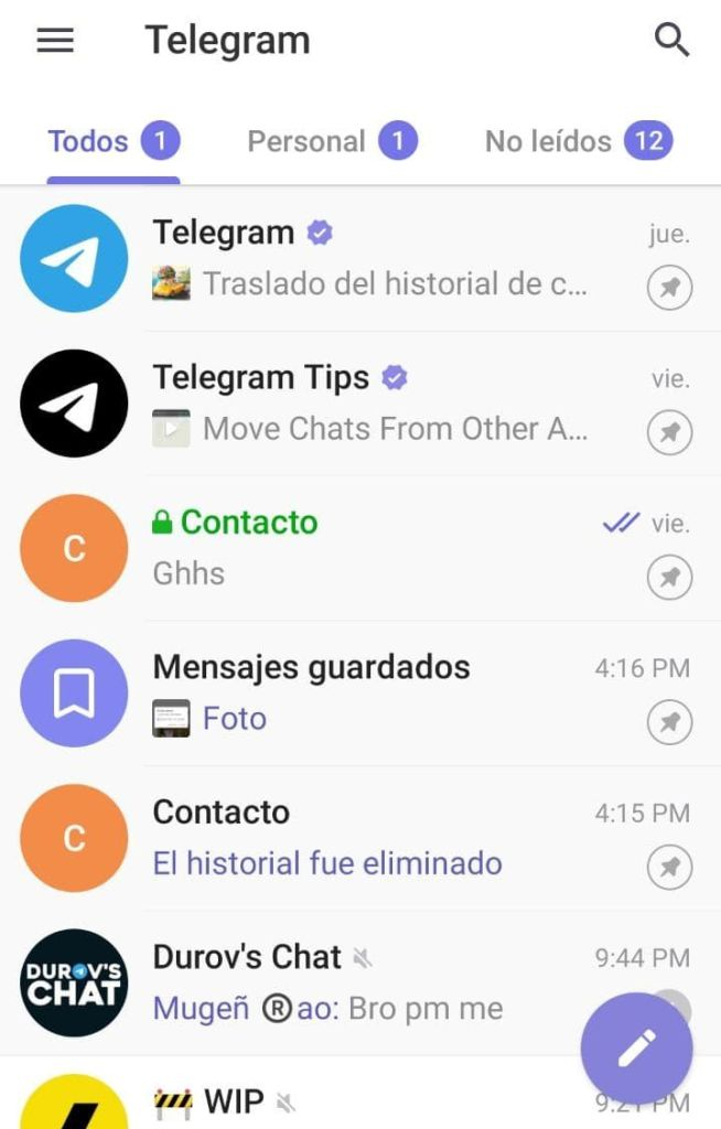 Organizar chats en carpetas Telegram