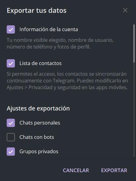 Exportar toda la cuenta de Telegram