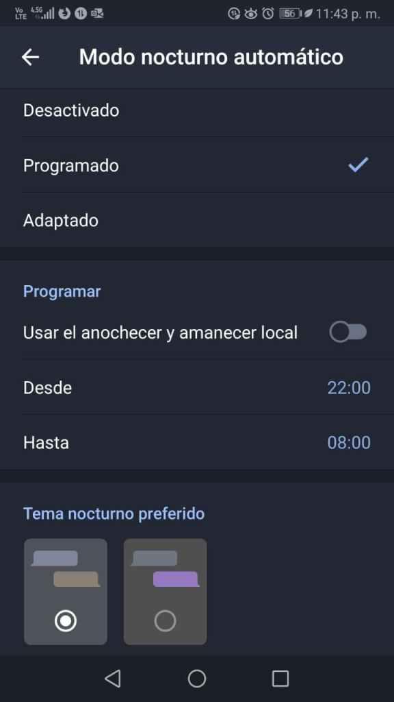 Modo oscuro automático Telegram
