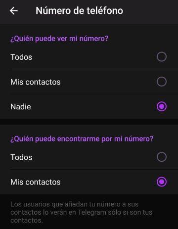 Ocultar número de teléfono