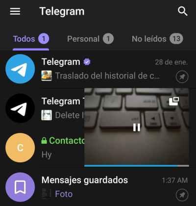 Reproductor flotante Telegram