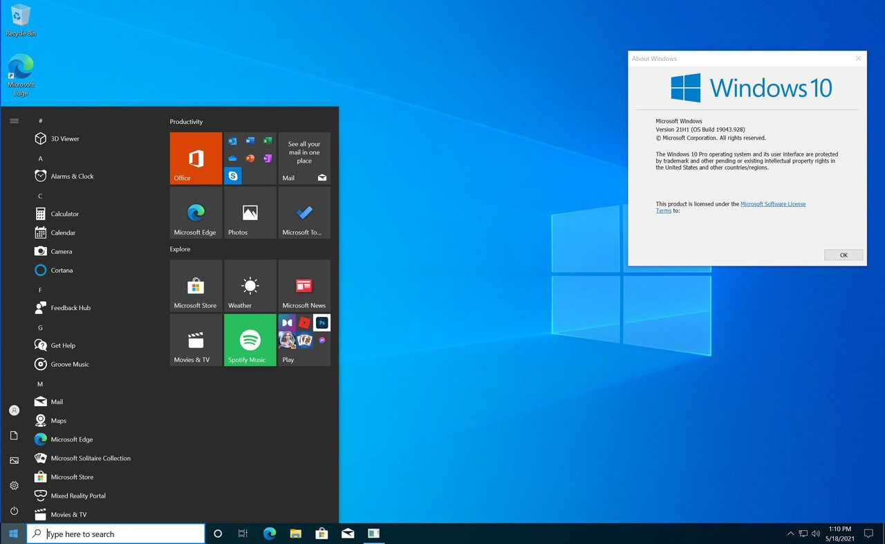 Windows 10 21H1 ISO May 2021 Update