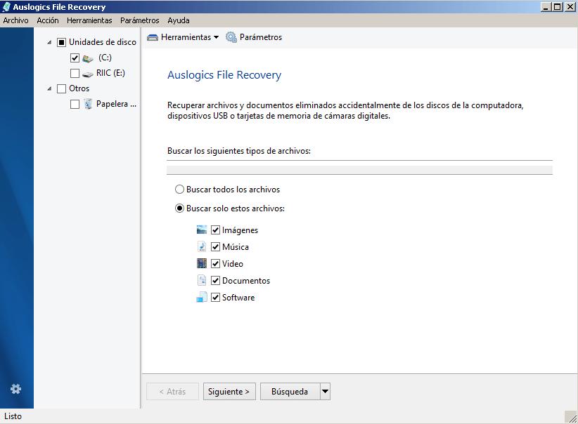 Auslogics recuperar archivos borrados