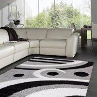 "Casa Regina Shaggy Collection Grey and Black Contemporary Abstract Design (7'10""x9'10"") Shag Area Rug"
